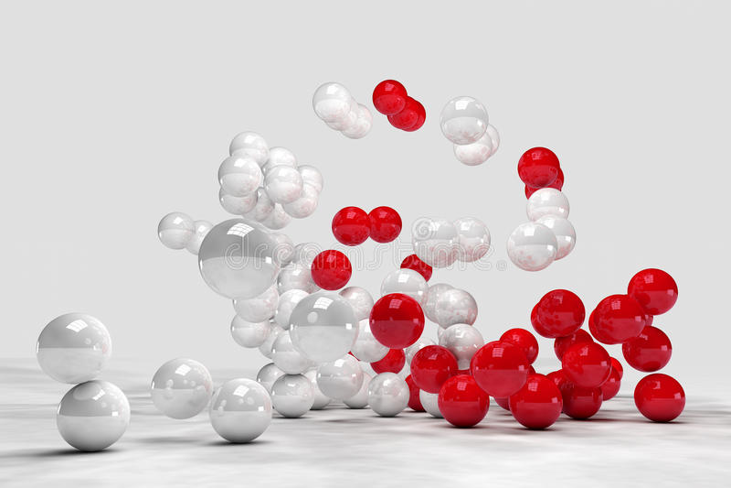 Massor av vita och röda bollar påverkar varandra royaltyfri illustrationer