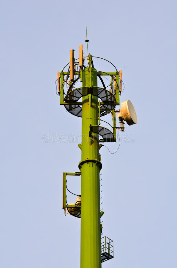 Mast. Military satellite antennas. For communication, security and military stock image