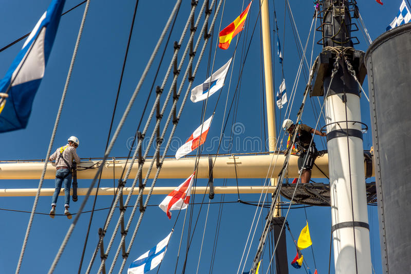 mast climbing royalty free stock image