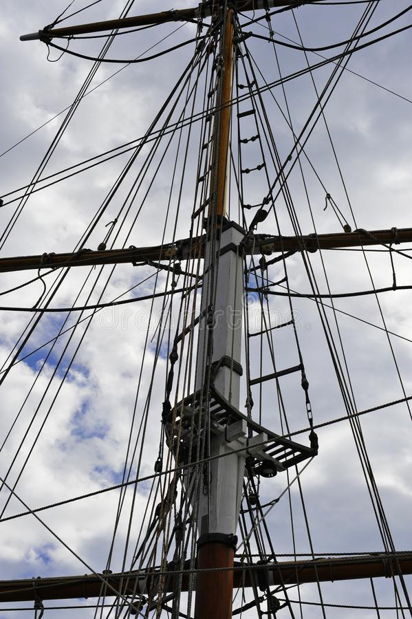 Mast and crows nest on a vintage tall sailing ship stock photo