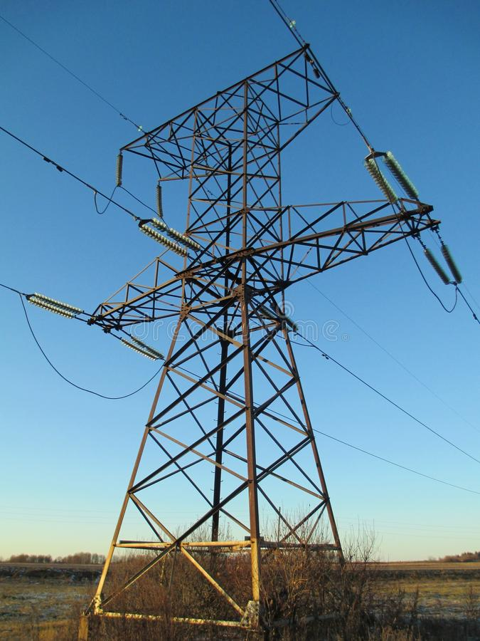 Mast high-voltage power lines royalty free stock photos