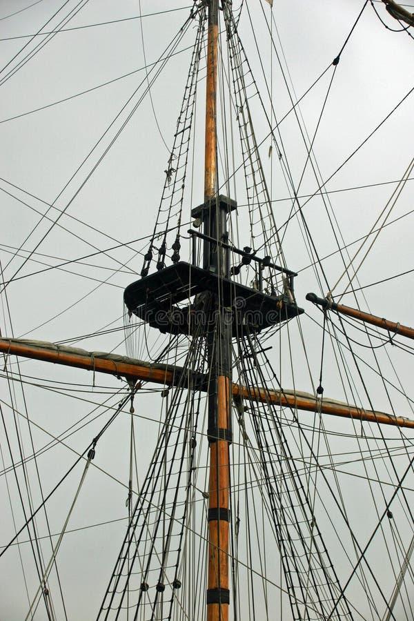 Mast och riggning för seglingskepp royaltyfria foton