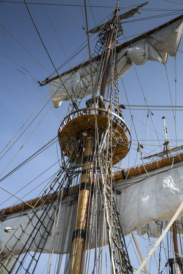 Mast of old and beatiful sailing ship
