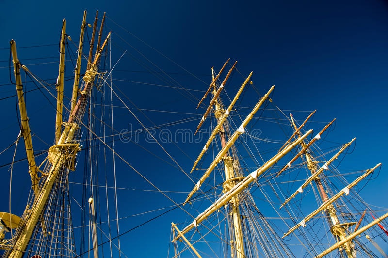 Mast on an old wooden sail ship