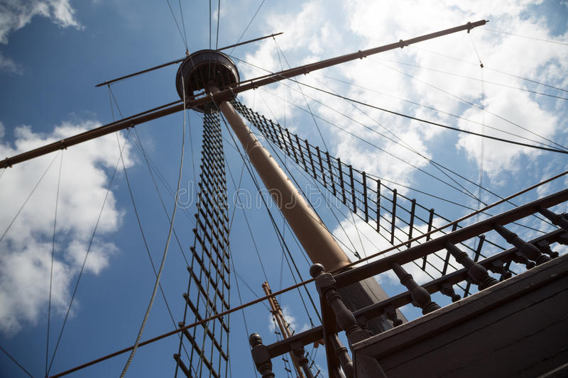 Mast and rigging on a sailing ship. Mast and rigging on a sailing wooden ship stock photo