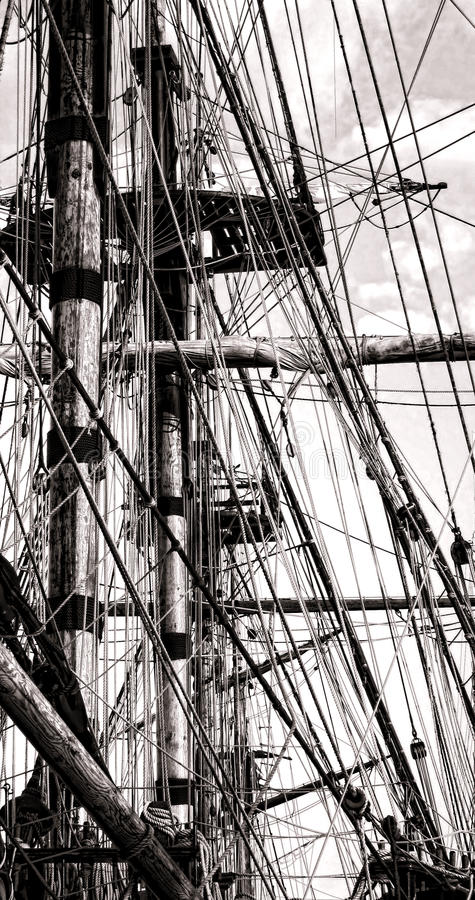 Mast and Rope Cordage Rigging on an Old Sail Ship stock photography
