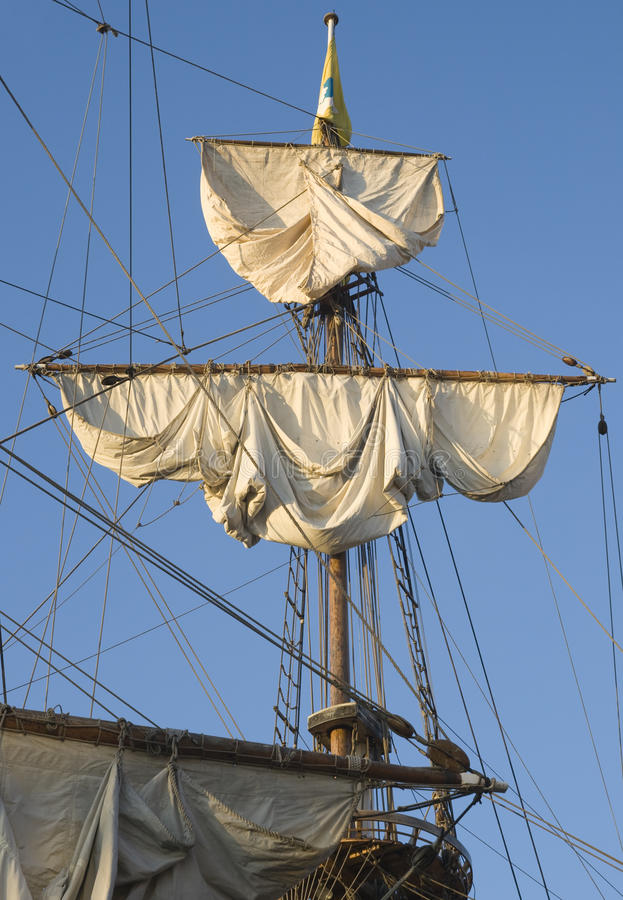 Mast of a tall ship stock photography
