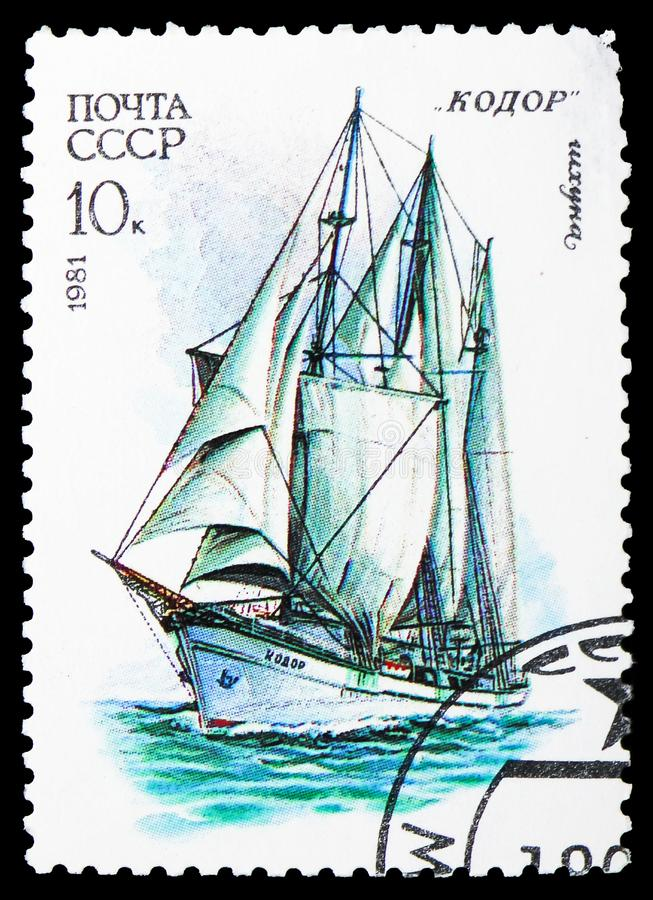 3-masted шхуна Kodor, флот плавания кадета serie СССР, около 1981 стоковое фото