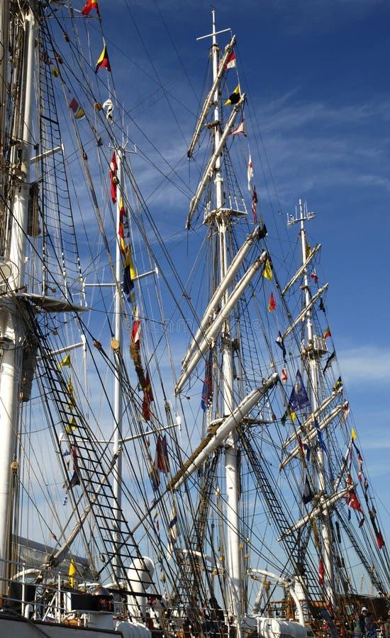 Masten van lange schepen stock foto's