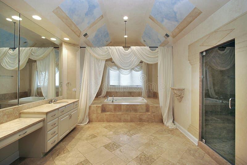 Master bath with celing design stock image
