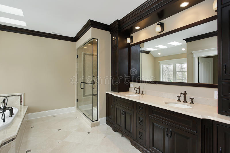Master bath with dark cabinetry stock photography