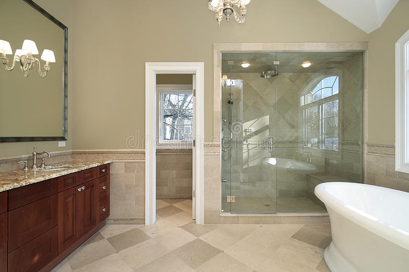 Master Bath With Freestanding Tub Stock Photo Image Of - Master bathroom with freestanding tub