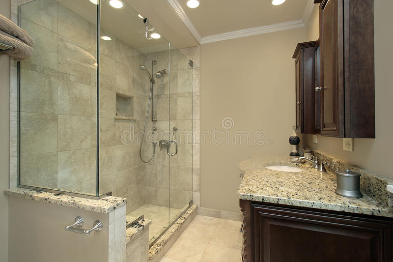 Master bath with glass shower stock images