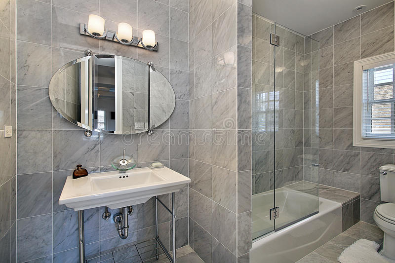 Download Master Bath With Gray Tile Stock Photo. Image Of Sink   13028964