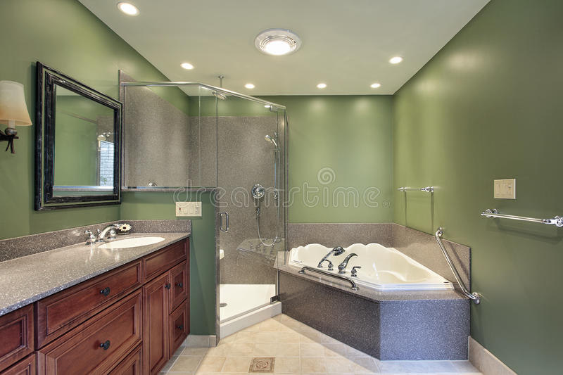 Master Bath With Green Walls Stock Photo - Image of lighting, design ...