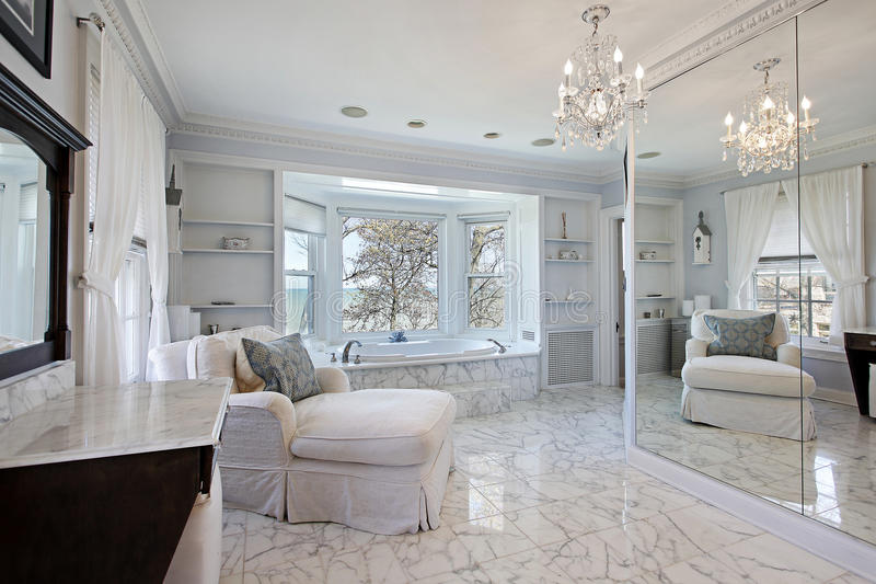Master bath with lake view royalty free stock photo