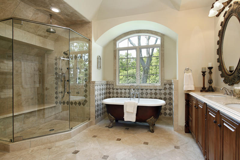 Master bath with large glass shower royalty free stock images