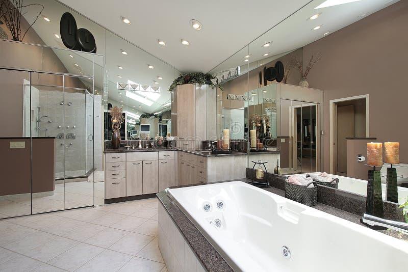 Master bath with large tub royalty free stock photo