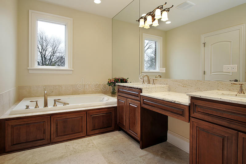 Master bath in luxury home royalty free stock photo
