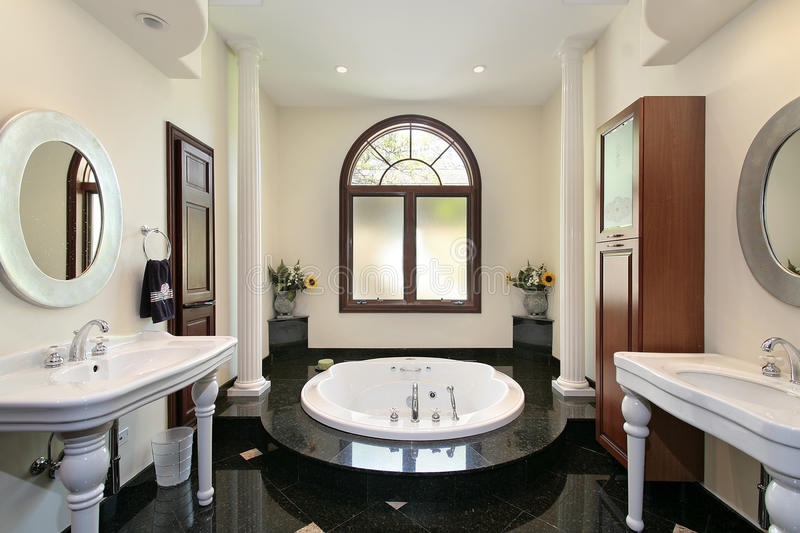 Master bath with marble tub royalty free stock images