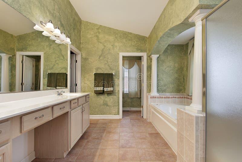 Master Bath With Tub Columns Stock Image Image Of