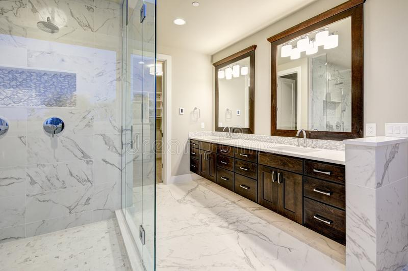 Master bathroom interior with double vanity cabinet stock images