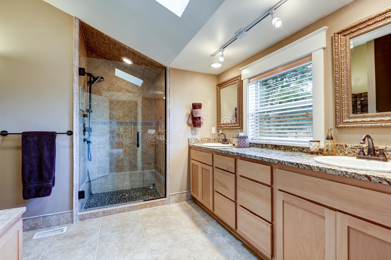 large double sink vanity. Download Master Bathroom Interior With Large Double Sink Vanity Stock Photo  Image Of House