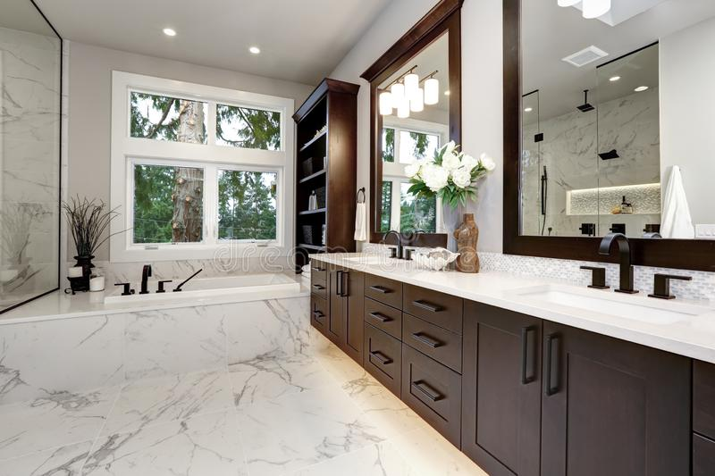 Master bathroom interior in luxury modern home with dark hardwood cabinets, white tub and glass door shower royalty free stock images