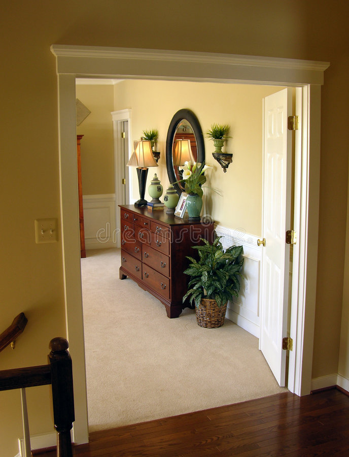 Master Bedroom Entrance. Doorway looking into the entrance to a master bedroom stock images