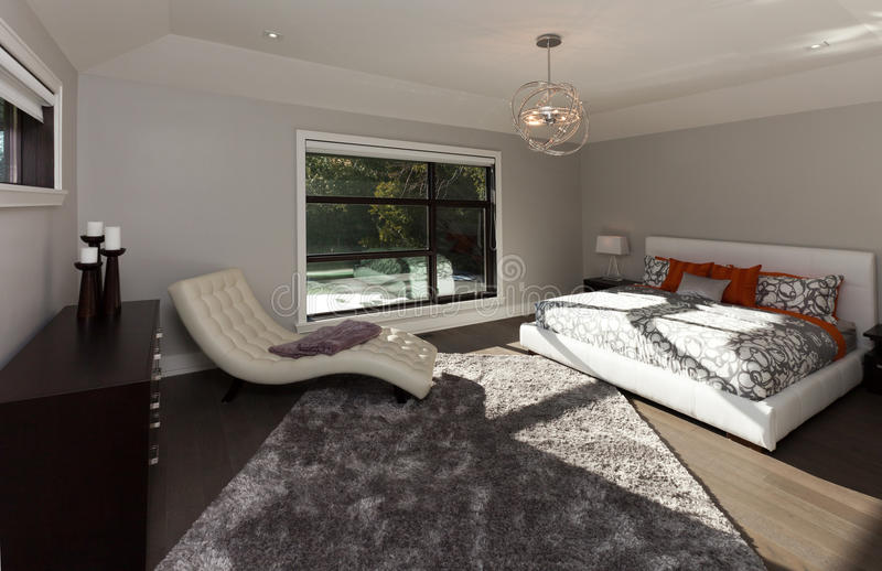 Master bedroom. In new luxury house royalty free stock photography