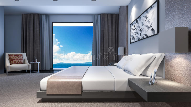 Master Bedroom Sea View / 3D Rendering vector illustration
