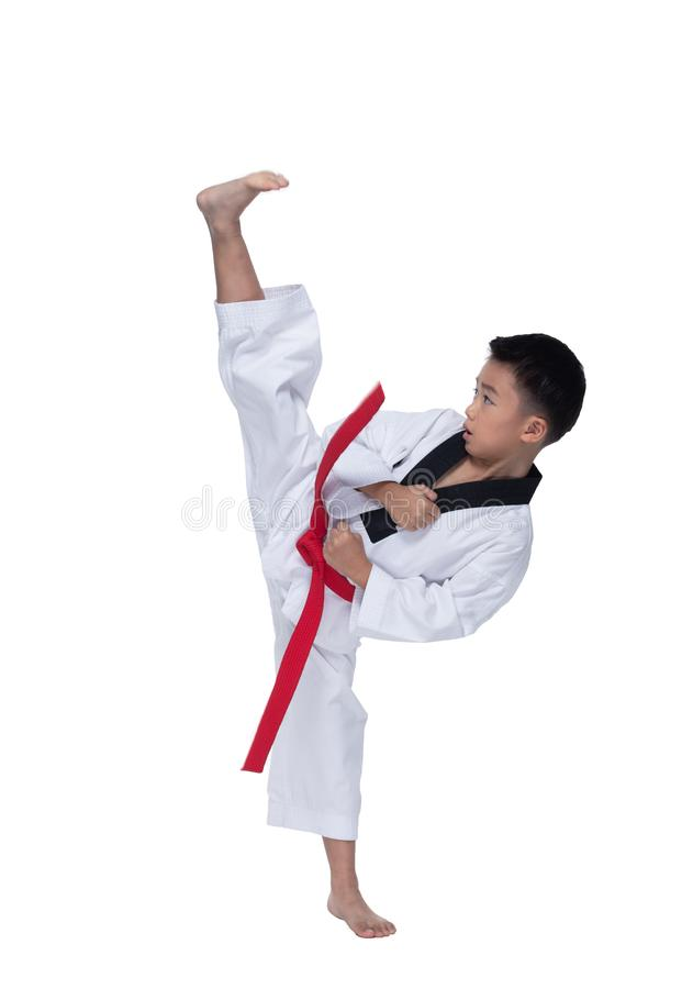 Master Belt TaeKwonDo athletes fighting pose boy. Master Red Belt TaeKwonDo Kid show fighting pose, Asian Teenager Boy athletes exercise warm up in white uniform royalty free stock image