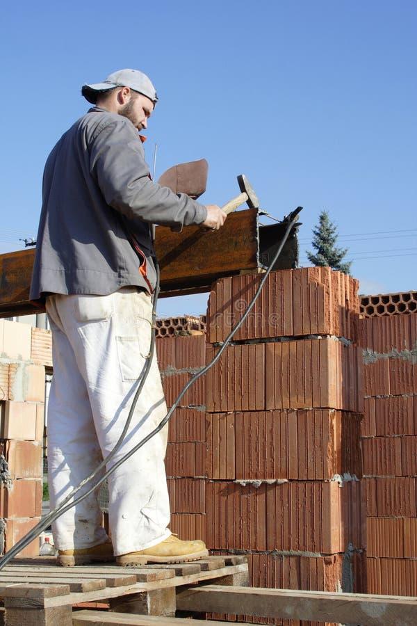 Master bricklayer stock image
