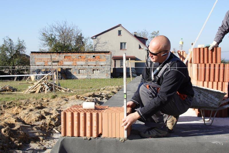 Master bricklayer royalty free stock photo