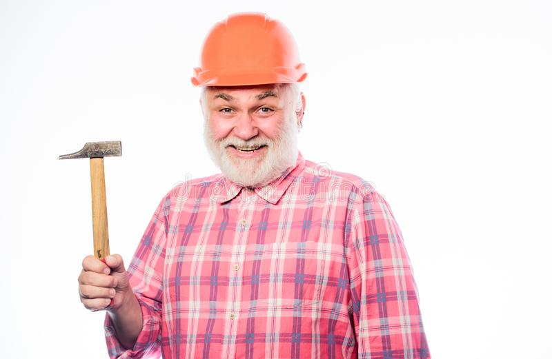 Master of building at work. professional repairman in helmet. construction build. architect repair and fix. engineer royalty free stock photos