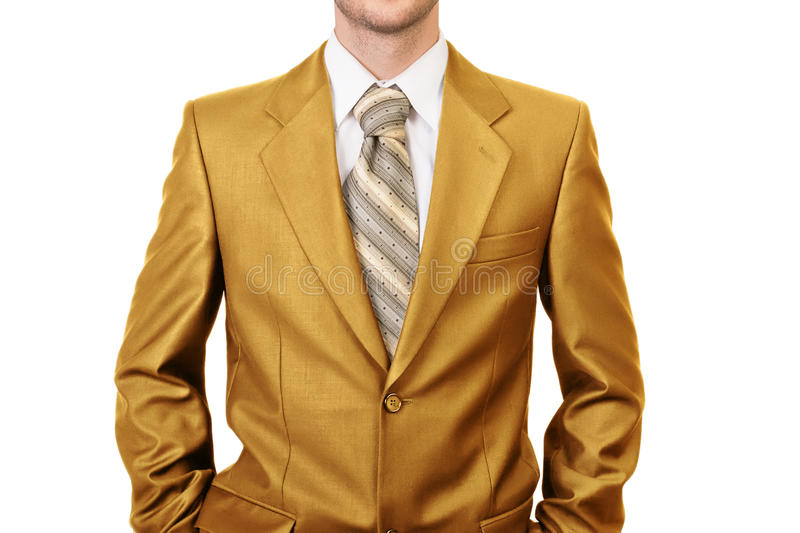 Master of business dressed in gold suit. Concept of big boss stock photos