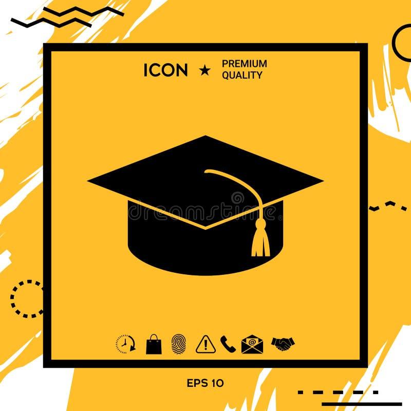 Master cap for graduates, square academic cap, graduation cap icon vector illustration