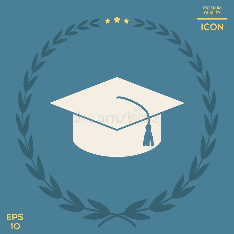 Master cap for graduates, square academic cap, graduation cap icon. Signs and symbols - graphic elements for your design royalty free illustration
