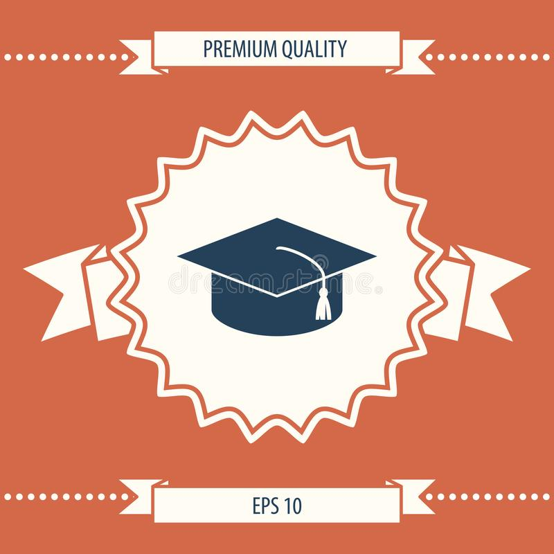 Master cap for graduates, square academic cap, graduation cap icon royalty free illustration