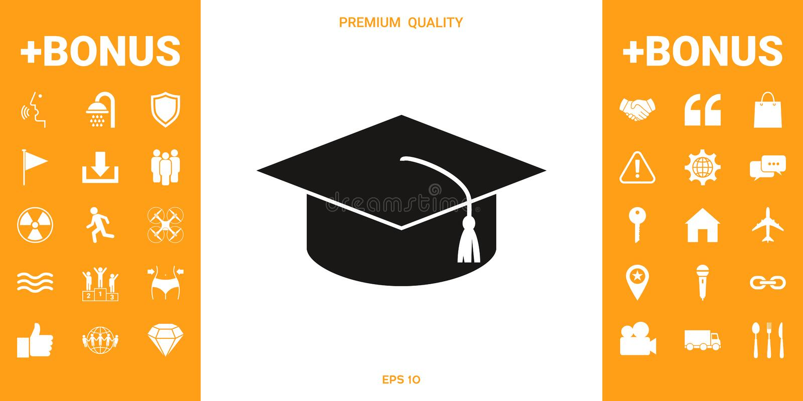 Master cap for graduates, square academic cap, graduation cap icon stock illustration