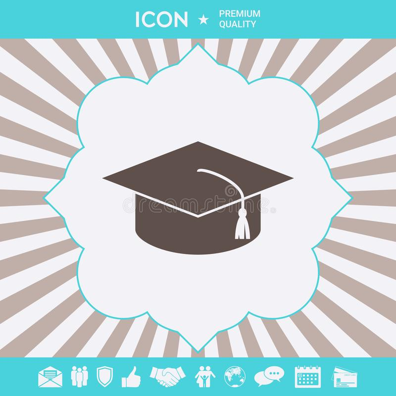 Master cap for graduates, square academic cap, graduation cap icon. Graphic elements for your design royalty free illustration