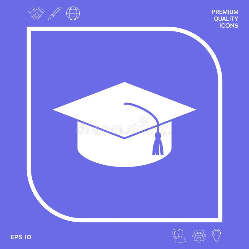 Master cap for graduates, square academic cap, graduation cap icon. Graphic elements for your design stock illustration
