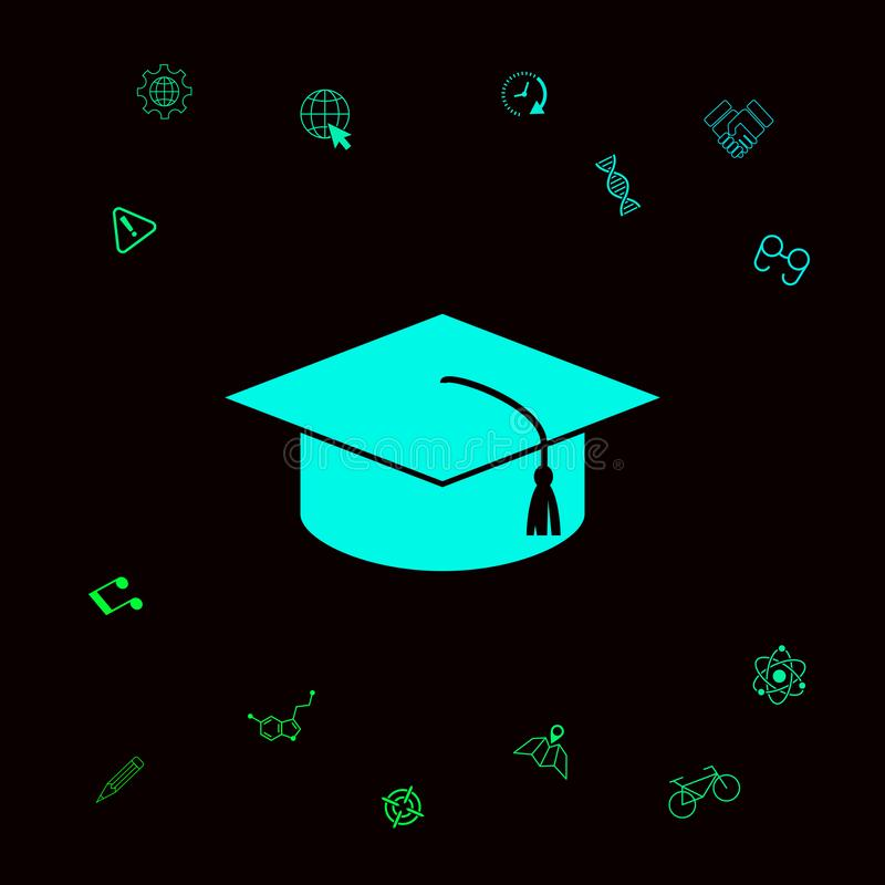 Master cap for graduates, square academic cap, graduation cap icon . Graphic elements for your designt royalty free illustration