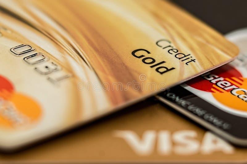 Master Card Visa Credit Card Gold stock image