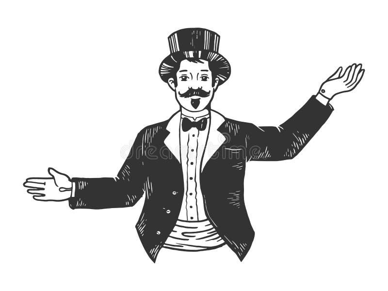 Master of ceremonies sketch engraving vector. Circus theatrical Master of ceremonies entertainer sketch engraving vector illustration. Scratch board style vector illustration