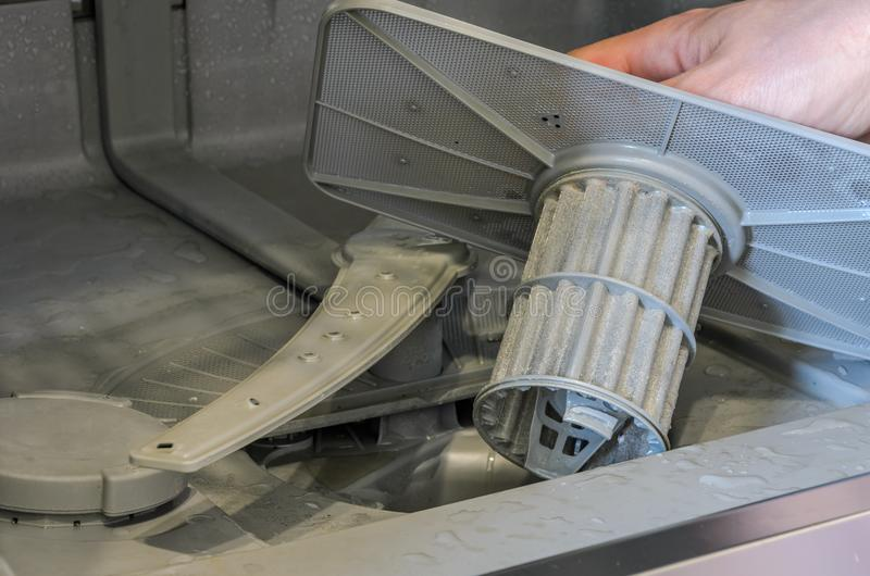 Master changes and cleans the water filter in the dishwasher.  royalty free stock photos