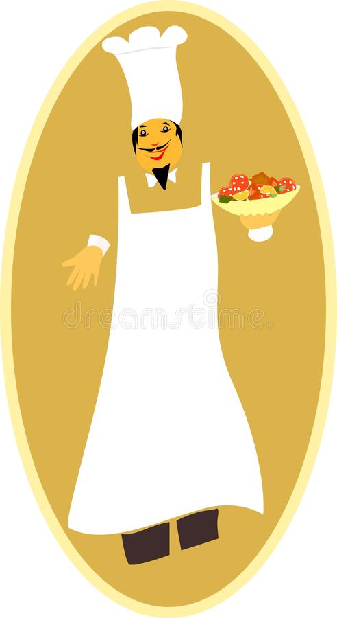 Master chef with food bowl in hand royalty free stock images