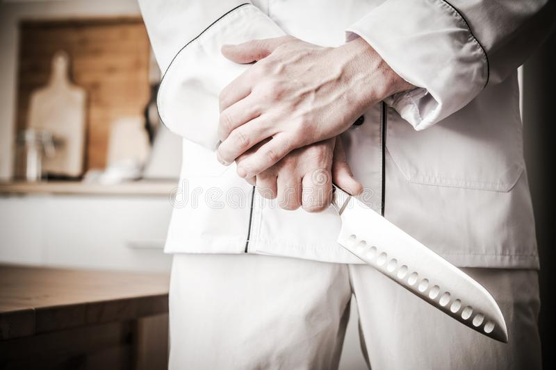 Master Chef with Huge Knife royalty free stock photos