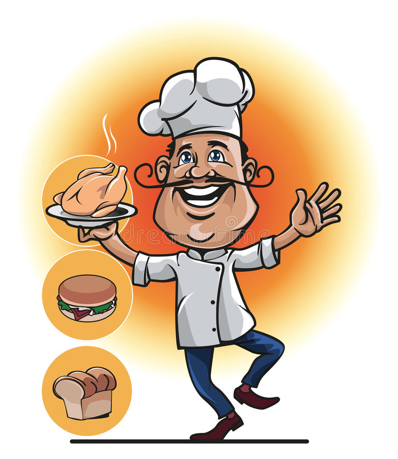 Master Chef smile. Mascot a master chef who was carrying his cooking like grilled chicken, bread, or burger royalty free illustration