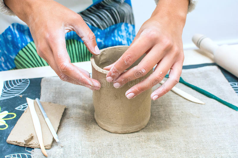 Master class at Pottery Workshop Making a Cup royalty free stock image